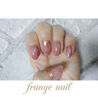 #ハンド #大理石 #ニュアンス #ミラー #ピンク #オレンジ #ゴールド #ジェル #お客様 #frange nail #ネイルブック