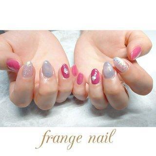 #ハンド #シェル #ニュアンス #ピンク #レッド #パープル #ジェル #お客様 #frange nail #ネイルブック