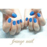 ミックスして作ったオリジナルカラーのブルー💅  ショートなワンカラーにとってもお似合い❤️ #ハンド #ワンカラー #ブルー #ジェル #お客様 #frange nail #ネイルブック