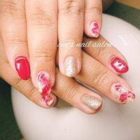 #春 #夏 #ハンド #大理石 #ミディアム #レッド #ジェル #お客様 #aco's nail salon #ネイルブック