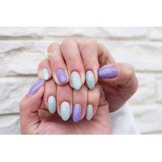 #purplenail #ブルーネイル  #パープルネイル  #シンプルネイル #オールシーズン #ハンド #シンプル #ワンカラー #水色 #パープル #ジェル #お客様 #Sympa nail #ネイルブック