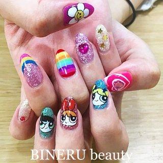 パワパフネイル💕❤️ #アメコミネイル #パワパフネイル #パワーパフガールズ #キャラネイル #静岡ネイルサロン #BINERU beauty #ネイルブック