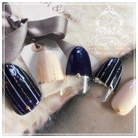 autumn nail(ू•ω•ू❁)♡ ネイビーストライプ♪ #秋 #ハンド #ストライプ #ブルー #tiara_nail #ネイルブック