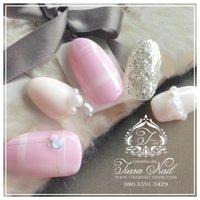 年間通して人気の¨̮♡ pinkチェックnail(ू•ω•ू❁)♡ #デート #ハンド #チェック #ピンク #tiara_nail #ネイルブック