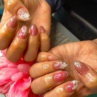 #ハンド #ジェルネイル #ピンク#フラワー #春 #オールシーズン #入学式 #ハンド #ラメ #ワンカラー #フラワー #ホワイト #ピンク #ジェル #お客様 #macho #ネイルブック