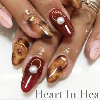 #ハンド #シンプル #ワンカラー #べっ甲 #ロング #ピンク #レッド #オレンジ #スカルプチュア #Heart In Heart #ネイルブック