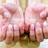 ハートネイル💓 #ハートネイル #ピンクネイル #シェル埋め込みネイル #BINERU beauty #静岡ネイルサロン #BINERU beauty #ネイルブック