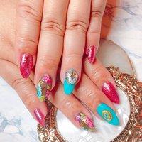#トロピカルネイル #インクネイル #インクアート #シースルー #ビジュー #夏 #オールシーズン #海 #リゾート #ハンド #ラメ #ビジュー #フラワー #シースルー #トロピカル #ピンク #水色 #ブラック #ジェル #お客様 #crown.nail_kikugawa #ネイルブック