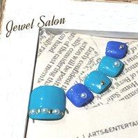 #フット #シンプル #ワンカラー #パール #ショート #ターコイズ #水色 #ブルー #ペディキュア #ネイルチップ #JEWEL SALON total beauty【旧jewel nail】 #ネイルブック