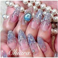 *   bluenails💍💎♥︎       Instagram → yochan4.nail #春 #夏 #オールシーズン #海 #グラデーション #ラメ #ビジュー #水色 #ブルー #スカルプチュア #YokoShikata♡キアラ #ネイルブック