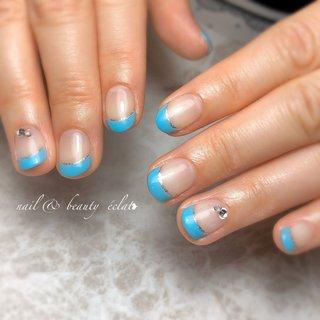 #ショートネイル#フレンチネイル#夏ネイル #nail & beauty éclat❥ #ネイルブック