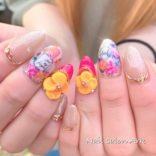 #夏ネイル #ラメ #ラメネイル #3d #ミラー #ホワイト #ベージュ #ピンク #makiko.r #ネイルブック