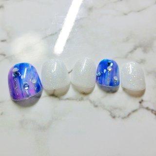 公式LINE→ @ivq2391c Instagram→m.nail08  津島市自宅ネイルサロン  *.+゚M.nail*.   #チップ#サンプル#フット #ブルー#シルバー#ホワイトラメ #M. nail #ネイルブック