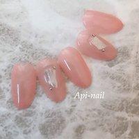 #春 #夏 #オールシーズン #海 #ハンド #シンプル #ピンク #ジェル #ネイルチップ #api_nail #ネイルブック