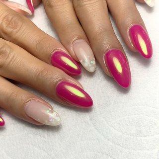 #ミラー #ピンク #ジェル #NAILSALON..Allium #ネイルブック