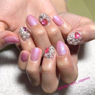 #しきつめネイル #ピンク #春ネイルデザイン #オールシーズン #ゆめかわネイル #ゆめかわいい #マーメイドネイル #ハートネイル #春 #オールシーズン #デート #女子会 #ビジュー #パール #ハート #Layla❤︎Nails #ネイルブック