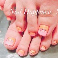 #バイカラーネイル #キラキラフット#フットネイル2020 #磯子ネイルサロン #春 #夏 #オールシーズン #海 #フット #ラメ #バイカラー #ピンク #オレンジ #Nail Happiness!(ネイルハピネス)*ささきまき #ネイルブック