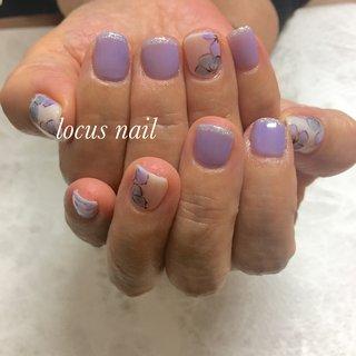 紫陽花カラーネイル。 #オールシーズン #ホワイト #パープル #aya #ネイルブック