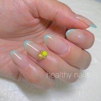 #春 #夏 #リゾート #ハンド #シンプル #変形フレンチ #ワンカラー #healthy nails #ネイルブック
