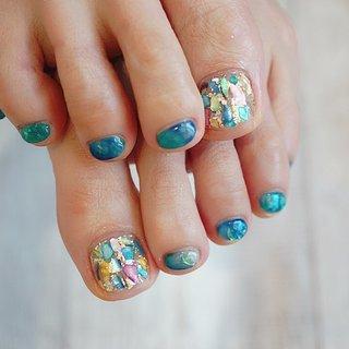 #フットネイル#夏ネイル#ターコイズ #リゾート #シースルー #ペディキュア #ange nail salon #ネイルブック