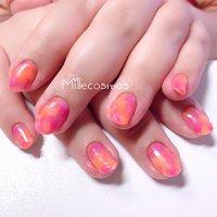 #マーブル #ピンク #オレンジ #ペイズリー #シャイニージェル #プリジェル #さっぽろ #millecosmos #オールシーズン #ハンド #ワンカラー #アンティーク #マーブル #ピンク #オレンジ #ブラック #ジェル #お客様 #れい #ネイルブック