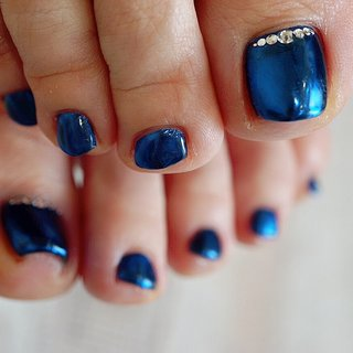 #ミラーネイル #ブルー#フットネイル #ange nail salon #ネイルブック