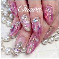*  #pinknails 💍♡   pink & ゴージャス気味 & キラッキラ✨    ↑ ↑ ↑ ↑ ↑ ↑  リクエストのお任せdesign💍♡    いつも ありがとう ♪ ☺︎💋♥︎        Instagram → yochan4.nail #春 #夏 #オールシーズン #女子会 #ビジュー #シースルー #星 #ニュアンス #オーロラ #ピンク #YokoShikata♡キアラ #ネイルブック