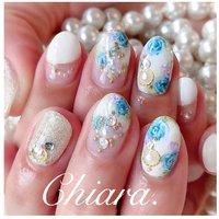 *   春夏design💍♡      Instagram → yochan4.nail #春 #夏 #オールシーズン #パーティー #フラワー #パール #ホワイト #水色 #ブルー #YokoShikata♡キアラ #ネイルブック