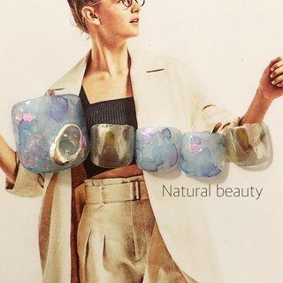 #梅雨ネイル#たらし込みネイル#水彩ネイル #梅雨 #フット #たらしこみ #ニュアンス #ショート #ブルー #パープル #シルバー #ジェル #ネイルチップ #naturalbeauty #ネイルブック