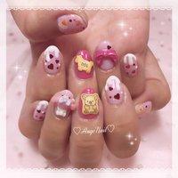 #たべっ子どうぶつネイル #コアラのマーチネイル #お菓子ネイル #かわいいネイル #ハート #キャラクター #3D #ピンク #AngeNail #ネイルブック