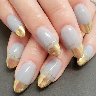 LINE ID:shinesnail Instagram shines_nail   #shinesnailブロッキングネイル #オールシーズン #パーティー #デート #女子会 #ハンド #ワンカラー #ミラー #ロング #グレー #ゴールド #ジェル #keiko-shinesnail #ネイルブック