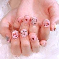 持ち込みデザインを参考に💗  ピンクとキラキラとってもかわいいです😊💓ありがとうございました🌈   #ネイル #ジェルネイル #ネイルアート #nail #nails #nailart #gelnail #福岡ネイル #福岡ネイルサロン #大牟田ネイル #美甲 #サンリオネイル #ビジュー #パール #ハート #キャラクター #3D #ピンク #saki_cinnamon #ネイルブック