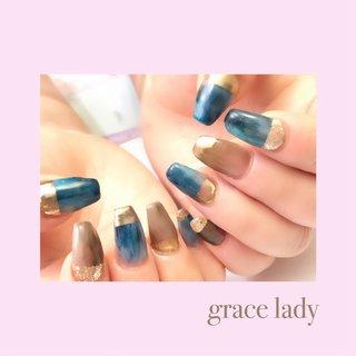 #フレンチ #変形フレンチ #ニュアンス #ミラー #ブルー #ネイビー #nailsalon&school grace lady(グレースレディ) #ネイルブック