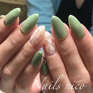 #シェル #カーキ #グリーン #水戸市ネイル&スクール Nails nico #ネイルブック