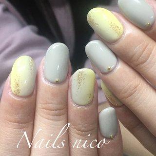 #ワンカラー #たてグラデーション #イエロー #グレー #水戸市ネイル&スクール Nails nico #ネイルブック
