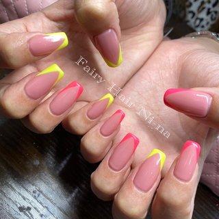 パラジェルを使った爪を痛めないスカルプネイル! スカルプネイルはとても爪が傷んじゃいますよね。。。 #ハンド #パラジェル #パラジェルベース #スカルプチュア  #スクエアネイル #ネオン #ネオンカラー #フレンチ #フレンチネイル #ネオンピンク #ネオンイエロー #夏 #夏ネイル #ピンク #ピンクネイル #黄色 #黄色ネイルは#海 #海ネイル #夏 #梅雨 #海 #リゾート #ハンド #フレンチ #ロング #ピンク #イエロー #ネオンカラー #スカルプチュア #お客様 #kio217 #ネイルブック