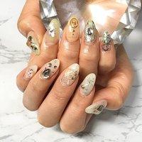 シアーな透け感カラーにアートホイルで奥行き感⭕️ #渋谷Beau're nail #ネイルブック
