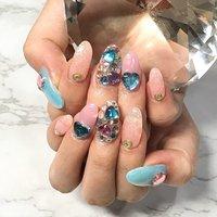 おぴんくと水色の組み合わせ可愛いすぎ💕 #渋谷Beau're nail #ネイルブック