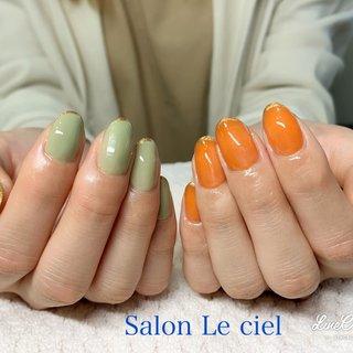 #オレンジ #カーキ #アシンメトリー #ハンド #Salon_Le_ciel #ネイルブック