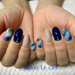 #ハンド #ホワイト #ネイビー #Salon_Le_ciel #ネイルブック