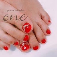 #夏#フット #赤フットネイル #夏 #オールシーズン #フット #ワンカラー #ビジュー #レッド #private nail salon one #ネイルブック