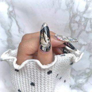 どの指のアートも納得いかないんですけど 特に薬指は…て感じだったので隠しました(笑)  #鬼滅の刃ネイル #鬼滅の刃 #伊黒小芭内 #セルフネイル  #ネイリストさんになりたい #ハンド #ジェル #miii #ネイルブック