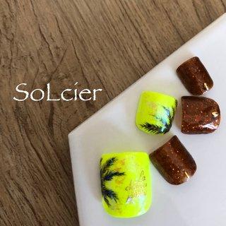 #サンプルデザイン #フット #ボタニカル #ブラウン #ネオンカラー #【SoLcier】ソルシエ #ネイルブック