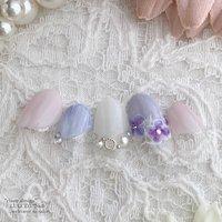 #紫陽花ネイル #バルーンネイル #春 #夏 #梅雨 #ブライダル #変形フレンチ #フラワー #ホワイト #ピンク #パープル #luludynail #ネイルブック