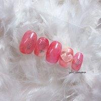 ピンク💗   #ネイル #ジェルネイル #ネイルアート #nail #nails #nailart #gelnail #福岡ネイル #福岡ネイルサロン #大牟田ネイル #美甲 #夏 #ラメ #ハート #3D #マーブル #ピンク #saki_cinnamon #ネイルブック