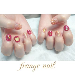 #ハンド #ハート #レッド #オレンジ #ジェル #お客様 #frange nail #ネイルブック