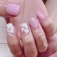 春らしいカラーで可愛く🌸  #ピンクネイル#ハート#クリアハート#シンプルだけど可愛い#春#夏#清水区ネイルサロン #春 #夏 #ハンド #リエ #ネイルブック