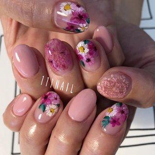 #pink#flower #paint#手書きアート #フラワー #ショート #ピンク #ジェル #111NAIL #ネイルブック