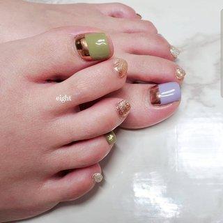 ブロンズミラーが可愛いすぎる🥺  🧸🧸🧸   #和歌山市ネイル#和歌山市ネイルサロン#ミラーネイル#ハーフミラーネイル #フット #Private nail salon eight #ネイルブック