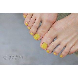 フットワンカラー  #フットネイル #フットジェルネイル #ちゅるんネイル #クリアネイル #フット #grace'nail factory #ネイルブック